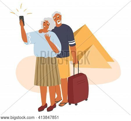 Senior Travel Activity And Summer Vacation. Happy Elderly Couple Traveling The World Together, Flat