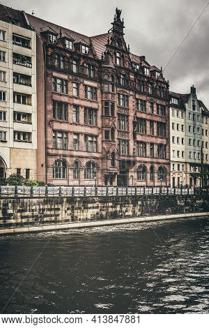 Berlin / Germany - 13 May 2019:  A Spree River View From Friedrichs Bridge, Near Bode Museum, Centra