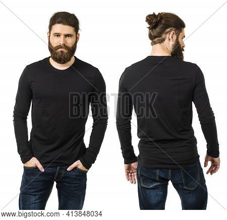 Young Man With Long Hair And Beard Wearing Blank Black Long Sleeve Shirt, Front And Back. Ready For