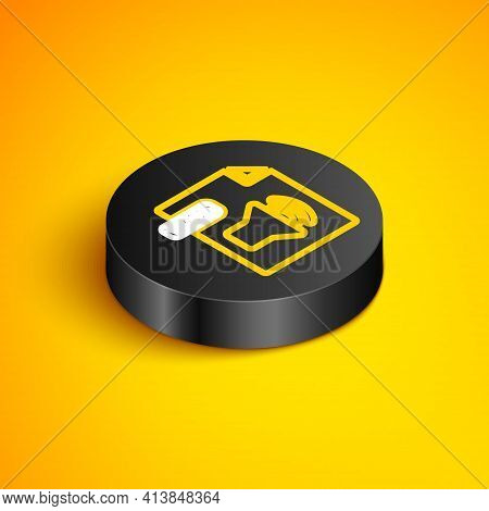 Isometric Line Wma File Document. Download Wma Button Icon Isolated On Yellow Background. Wma File S