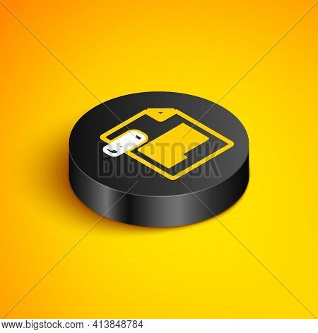 Isometric Line Txt File Document. Download Txt Button Icon Isolated On Yellow Background. Text File