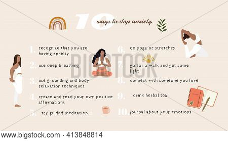 Ways To Stop Anxiety. Strees, Anxiety, Fear, Depression Treatment. Vector