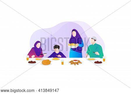 Iftar Party. Ramadan Kareem. Family Eating. Vector