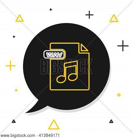Line Wav File Document. Download Wav Button Icon Isolated On White Background. Wav Waveform Audio Fi