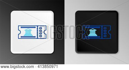 Line Museum Ticket Icon Isolated On Grey Background. History Museum Ticket Coupon Event Admit Exhibi