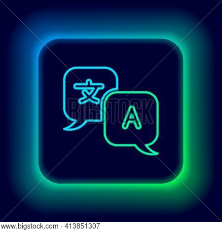 Glowing Neon Line Translator Icon Isolated On Black Background. Foreign Language Conversation Icons