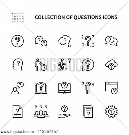 Ask Questions Vector Linear Icons Set. Collection Of Questions For Websites And Mobile. Vector Symbo