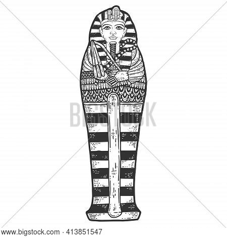 Ancient Egyptian Pharaon Tutankhamun Sarcophagus. Sketch Scratch Board Imitation.