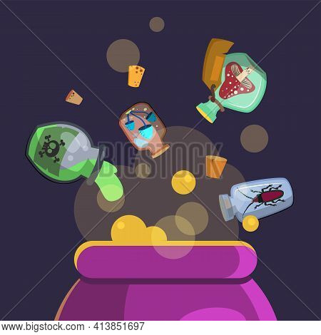 Magic Ingredients Added To Cauldron With Potion. Poison, Mushroom, Glass Flat Vector Illustration. W