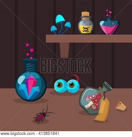 Various Potion Ingredients On Brown Background. Crystal, Poison, Insect Flat Vector Illustration. Wi