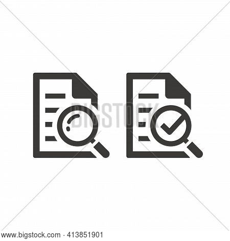 Document With Magnifier And Checkmark Icon. Manual, Instruction And Information Search Symbol With L
