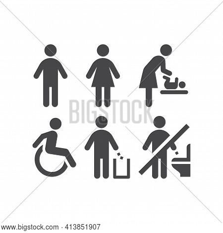 Wc Or Toilet Black Vector Icon Set. Men, Women, Ladies And Gentlemen Restroom Signs. Disabled And Ch