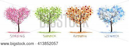 Nature Four Stylized Trees Representing Different Seasons Spring, Summer, Autumn, Winter. Vector.