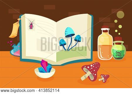 Magic Book With Potion Recipes. Bottle, Poison, Liquid Flat Vector Illustration. Witchcraft And Alch