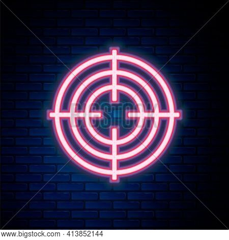 Glowing Neon Line Target Sport For Shooting Competition Icon Isolated On Brick Wall Background. Clea