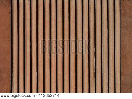 Part Of Modern Interior With Brown Horizontal Pattern Texture Of Wooden Shutters, Casements Or Blind