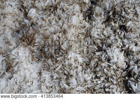 Ice Floes. Melting Crushed Ice On The Wet Ground. Spring Melting Of Snow And Ice. Mud And Slush. Clo