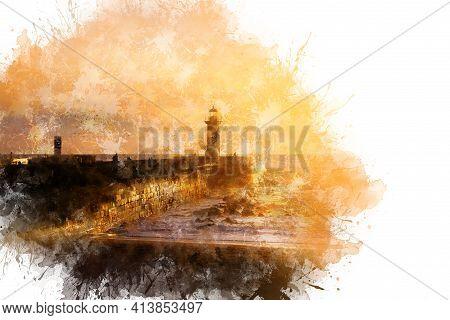 Watercolor Drawing, Illustration. Felgueiras Lighthouse On Shore Of Atlantic Ocean In Porto, Portuga