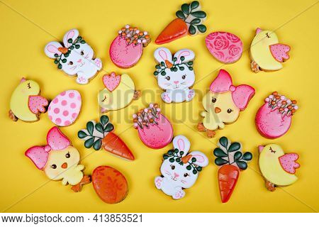 Closeup Of Variation Of Different Easter Sugar Cookies Decorated With Royal Icing. Eggs, Bunny, Carr