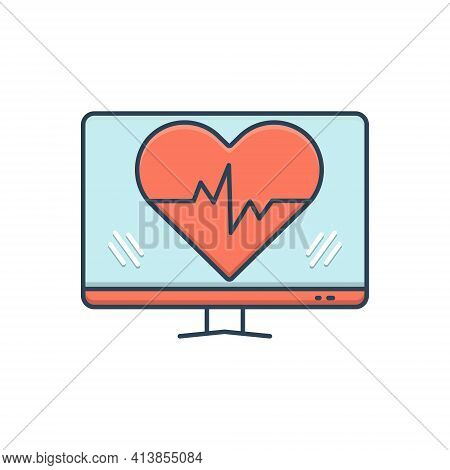 Color Illustration Icon For Ehealth Healthcare Heartbeat Heart Online