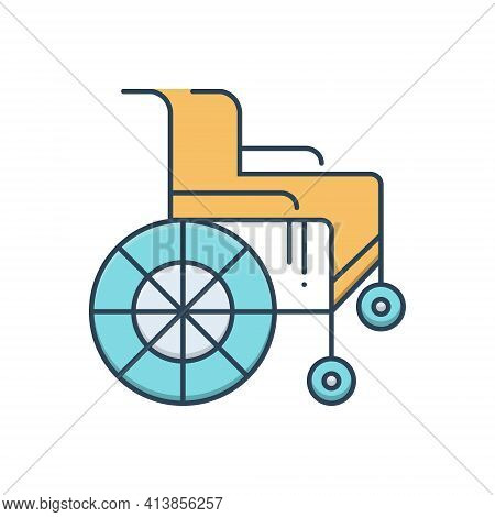 Color Illustration Icon For Wheel-chair Handicapped Physical-impairment Disability