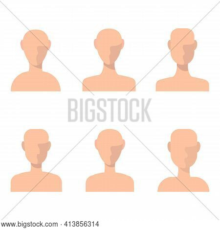 People Avatars With Face Shadow Vector Set. Profiles For Resume And Other Props. Profile Picture Ico