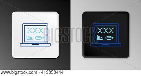 Line Genetic Engineering Modification On Laptop Icon Isolated On Grey Background. Dna Analysis, Gene