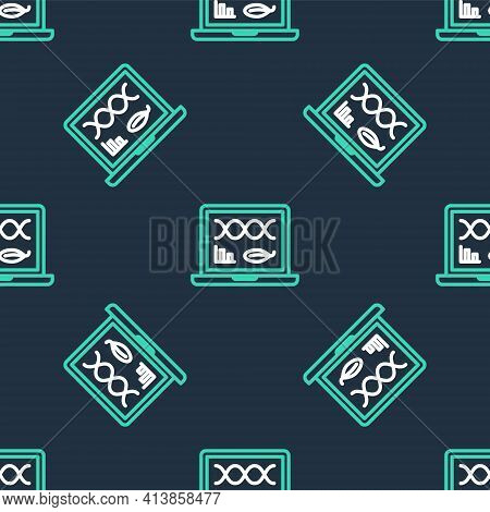 Line Genetic Engineering Modification On Laptop Icon Isolated Seamless Pattern On Black Background.