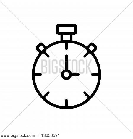 Black Line Icon For Begin Start-up Start Time Clock Alarm Strike-up