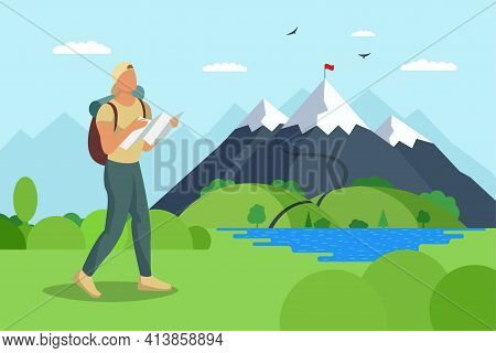Man Traveler With Backpack And Map Walks To Mountain Along Lake Valley. Tourist Top Goal Achievement
