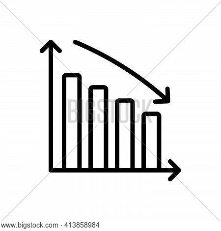 Black Line Icon For Descending Downward Arrow Decrease Chart Progress