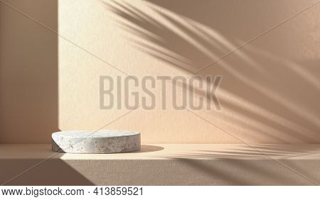 Minimal Mockup Empty Stone Podium With Sunshade Shadow Palm Leaf On Concrete Wall Abstract Backgroun