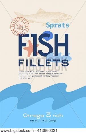 Fish Fillets Abstract Vector Packaging Design Or Label. Modern Typography, Hand Drawn Sprat Silhouet