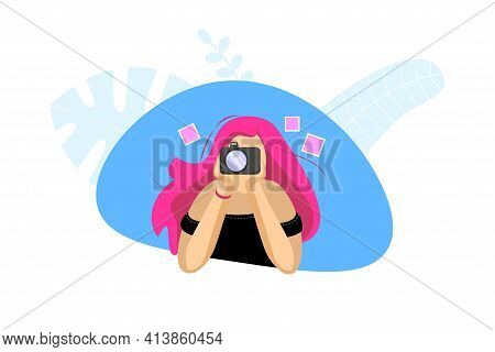 Beautiful Young Teenage Girl Photographer With Pink Hair Holding Camera. Female Photo Hobby Concept.