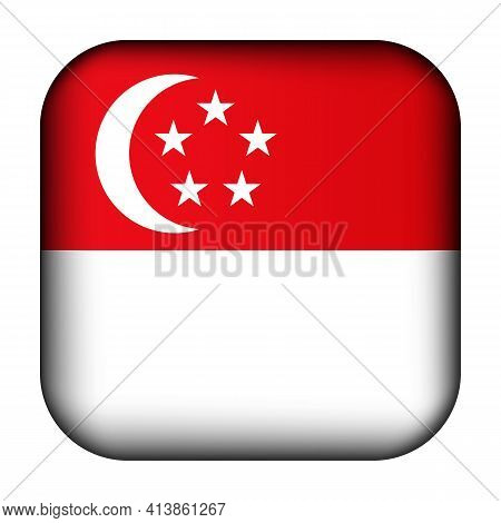 Glass Light Ball With Flag Of Singapore. Squared Template Icon. National Symbol. Glossy Realistic Cu