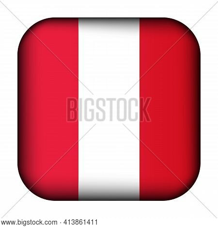 Glass Light Ball With Flag Of Peru. Squared Template Icon. Peruvian National Symbol. Glossy Realisti
