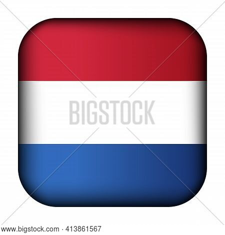 Glass Light Ball With Flag Of Netherlands. Squared Template Icon. Dutch National Symbol. Glossy Real