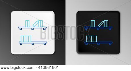 Line Shelf With Books Icon Isolated On Grey Background. Shelves Sign. Colorful Outline Concept. Vect