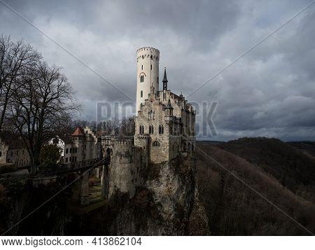 Postcard Panorama View Of Medieval Schloss Lichtenstein Castle On Hill Cliff Edge In Echaz Valley Ho