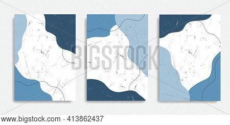 Set Of Doodle Abstract Grunge Backgrounds. Hand Drawn Various Shapes And Objects. Contemporary Moder