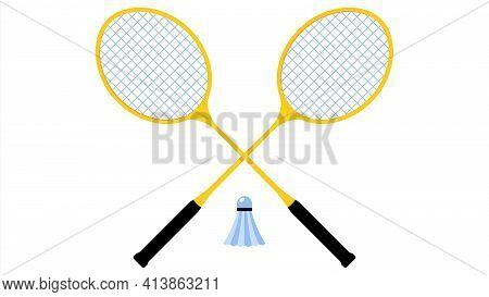 Shuttlecock And Rackets For Playing Badminton On White Background. Sports Equipment For Playing Badm