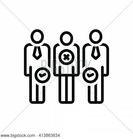 Black Line Icon For Discrimination Distance Nepotism Differentiation Partiality Partisanship People