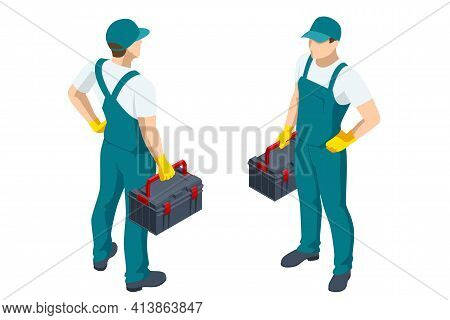 Isometric Repairman Or Mechanic With A Toolbox. Man Working, Holds Toolbox With Instrument