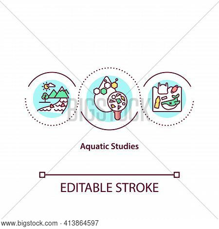 Aquatic Studies Concept Icon. Environmental Study Idea Thin Line Illustration. Studying Aquatic Orga