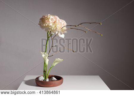 Flower Arrangement Of Hydrangea, Calla Lilies