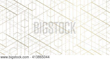 Hexagons On White Background.technical Drawing.geometric Rhombuses.abstract Tech.vector