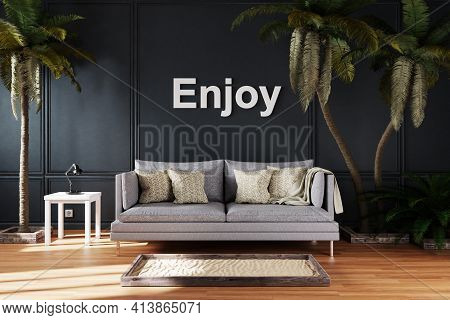 Canceled Vacation And Stay At Home Concept Due Travel Restrictions; Elegant Living Room Interior Wit