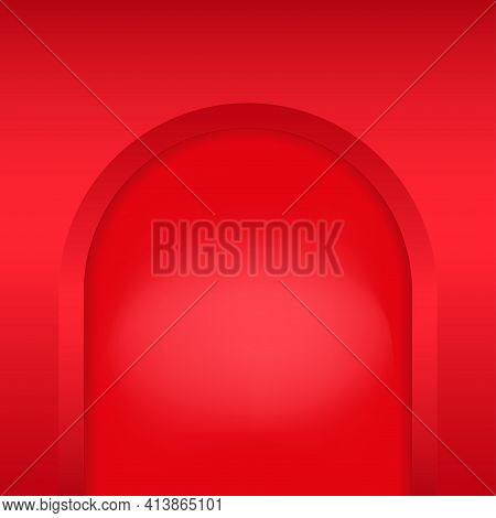 Pink Arch Niche. Recess In A Colored Wall In Arch Shaped . Editable Background Vector Illustration