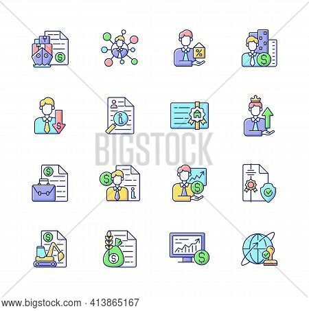 Broker Service Rgb Color Icons Set. Online Stock Trading. Intellectual Property. Business Deal. Spon