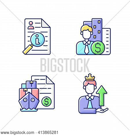 Brokerage Rgb Color Icons Set. Information Broker. Corporate Specialist On Finance And Commercial Se